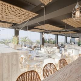 Terraza con vistas al mar Hotel Marítim Roses Costa Brava
