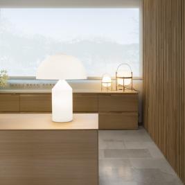 Design lamp in the reception of a hotel on the Costa Brava